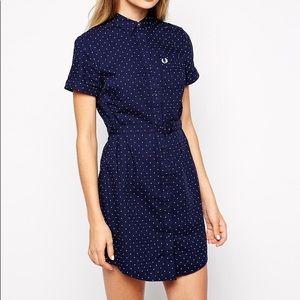 belted polka dot mini dress